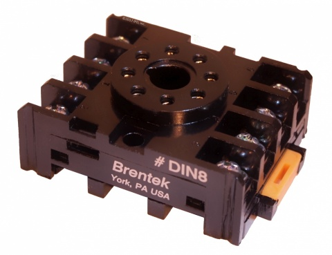 Brentek DIN 8 Octal Relay Socket - panel mount or DIN-rail mount
